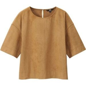 Uniqlo Faux Suede Short Sleeve Shirt